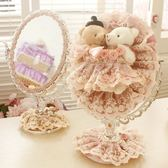 鏡子鏡子蕾絲結婚禮物粉色公主柱腳鏡小熊歐式高檔PVC鍍鋅台式化妝鏡    古梵希
