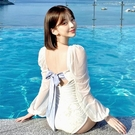 特惠連身泳裝 溫泉泳衣女性感連體裙式顯瘦遮肚保守學生仙女范 闺蜜日系韓國泳裝