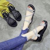 涼鞋 夏季新款韓版鬆糕厚底中跟羅馬涼鞋亮片百搭露趾一字搭扣女鞋 城市玩家