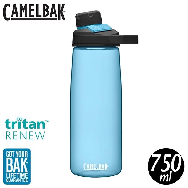 【CamelBak 美國 750ml Chute Mag戶外運動水瓶RENEW《透藍》】CB2470402075