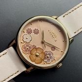 星晴錶業-COACH蔻馳女錶,編號CH00003,36mm金色錶殼,米白色錶帶款