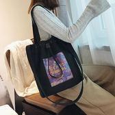 韓版時尚學生側背包百搭簡約休閒帆布包女包學生h437