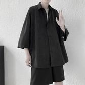 夏季新款襯衫男短袖韓版潮流寬鬆百搭情侶七分袖襯衣(快速出貨)