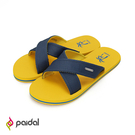 Paidal 夏日椰子渡假風撞色交叉織帶舒適涼拖鞋-黃