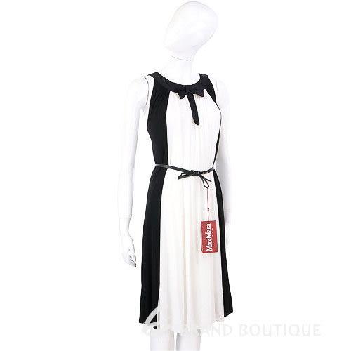 PAOLA FRANI 黑/白色蝴蝶結飾無袖洋裝(不含腰帶) 0910207-37