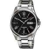 【台南 時代鐘錶 CASIO】卡西歐 台灣公司貨 MTP-1384D-1A 羅馬時標大三針時尚手錶