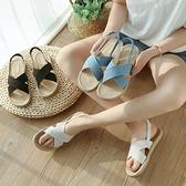 快速出貨 百搭麻繩鬆緊帶 平底涼鞋 拖鞋 軟底 沙灘鞋 黑 / 白 / 藍