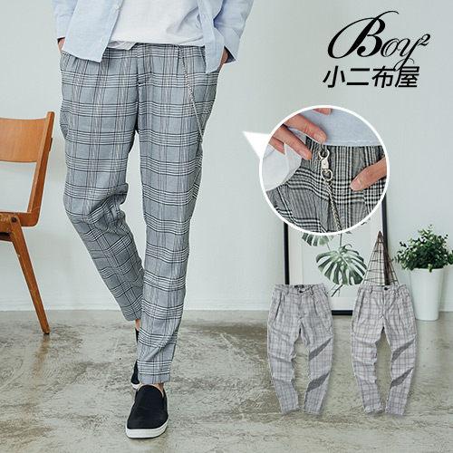 長褲 英倫街頭質感帶鏈格紋褲【NW659037】