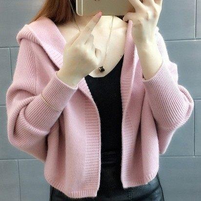 EASON SHOP(GU9280)韓版簡約純色坑條紋長袖連帽開衫針織毛衣外套罩衫斗篷披肩女上衣服短版寬鬆黑色