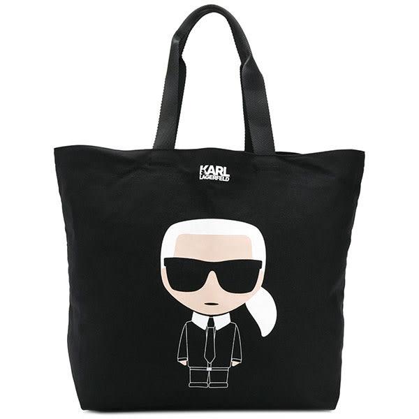 Karl Lagerfeld 卡爾 老佛爺 包包 IKONIK帆布包-黑