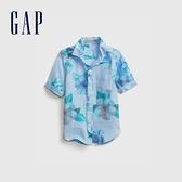 Gap男幼童 亞麻混紡輕薄短袖襯衫 681437-藍色花紋