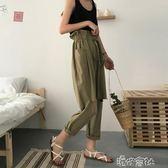 夏季女裝韓版寬鬆綁帶鬆緊腰破洞顯瘦高腰休閒褲寬管褲九分褲 港仔會社