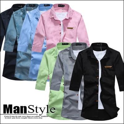 任選2件699七分袖襯衫素色素面皮標七分袖牛仔襯衫衣服上衣男【01C1852】