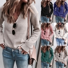 女士毛衣時尚加厚上衣 個性百搭學生潮流秋冬保暖打底衫 純色女生針織衫 長袖女生韓版毛衣