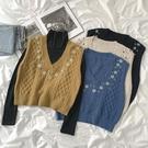 日系學院風馬甲2020新款秋季女裝時尚氣質v領無袖百搭刺繡套頭潮 好樂匯