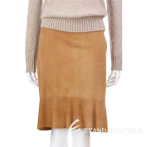 SIMULTANEOUS 麂皮抓皺及膝裙(駝色) 0510816-02