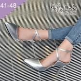 大尺碼女鞋-凱莉密碼-潮流設計款交叉瑪莉珍漆皮尖頭中空高跟鞋8.5cm(41-48)【HB312】銀色