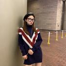 VK精品服飾 韓國學院風慵懶寬鬆撞色高領針織長袖上衣