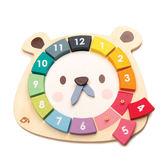 【美國Tender Leaf Toys】小熊色環數字學習鐘(內附12塊卡榫積木)