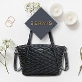 BERNIS兩用托特包-小羊皮菱格紋系列BNA18045BK