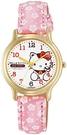 Citizen Q&Q【日本代購】 手錶指針式Hello Kitty 防水皮革錶帶日式花紋日本製造0007N003 女士粉色