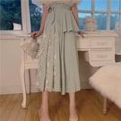 拼接蕾絲裙 設計感拼接蕾絲中長款裙子女2020秋季新款正韓洋氣高腰綁帶半身裙【免運】