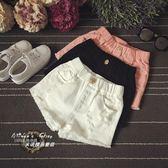 女童黑色白色牛仔短褲夏季純棉破洞兒童韓版中大童薄款熱褲子外穿  ifashion部落