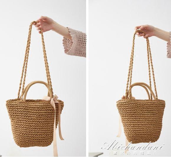 日系度假風草編包旅游沙灘側背手提水桶編織包包女  黛尼時尚精品