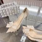 高跟鞋女細跟2021夏新款百搭尖頭水晶單鞋婚鞋 快速出貨