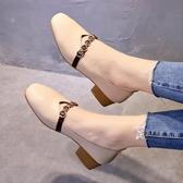 單鞋 鞋子女百搭正韓學生豆豆鞋網紅中跟單鞋女加絨奶奶鞋【全館上新】