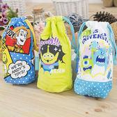 iaeShop 日本迪士尼 DISNEY 毛巾布束口袋 萬用袋 收納包 旅行包 外出包 玩具總動員 怪獸大學 三眼怪