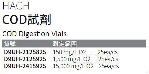 《HACH》COD試劑 COD Digestion Vials