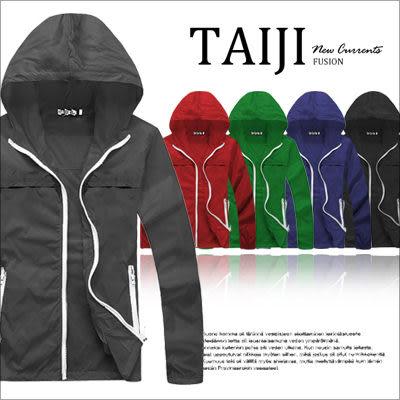 風衣外套【NQ81066】街頭風格‧情侶款拉鍊口袋素色連帽風衣外套‧五色‧多色/組合/條紋/設計