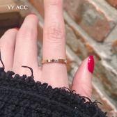 戒指 冷淡簡約極簡小眾網紅18k玫瑰金鈦鋼極細鋯石食指戒指女不掉色ins 曼慕衣櫃