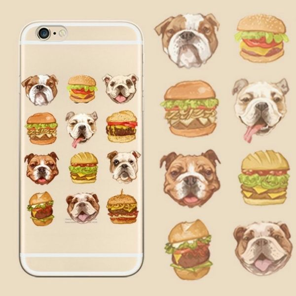 iPhone手機殼  [鐵盒精裝版]。原創吃貨 英國鬥牛犬愛漢堡 矽膠軟殼 蘋果iPhone8/iPhone7 6Plus手機殼