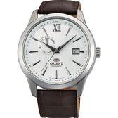 【台南 時代鐘錶 ORIENT】東方錶 Classic系列 經典日期機械錶 FAL00006W 皮帶 咖啡/白 43mm