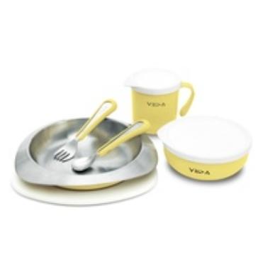 兒童學習餐具 兒童不鏽鋼餐具 VIIDA - Soufflé 抗菌不鏽鋼餐具組 (萊姆黃) 幼稚園必備品
