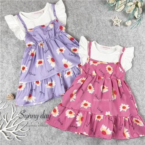 夏日清新假兩件花朵荷葉袖洋裝-2色(310421)【水娃娃時尚童裝】