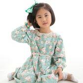 Cutie Bella簍空蕾絲領 長袖縮口 綁帶印花洋裝-Teal Green-Pink/White Peony 灰綠底粉白牡丹花 (100/120CM)