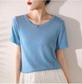 潮搭夏款V領短袖女寬鬆短款顯瘦冰絲T恤薄款針織打底衫上衣冰絲快速出貨