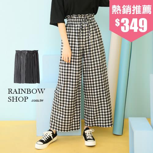 高腰抓皺綁帶造型格紋褲-P-Rainbow【A381150】