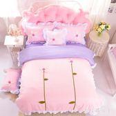 床包組韓式棉質公主風床裙式荷花花朵四件套1.8米床上用品zzy2600【大尺碼女王】TW