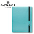 CARAN d'ACHE 瑞士卡達 LEMAN 利曼系列 小牛皮A5筆記本.天藍 / 本