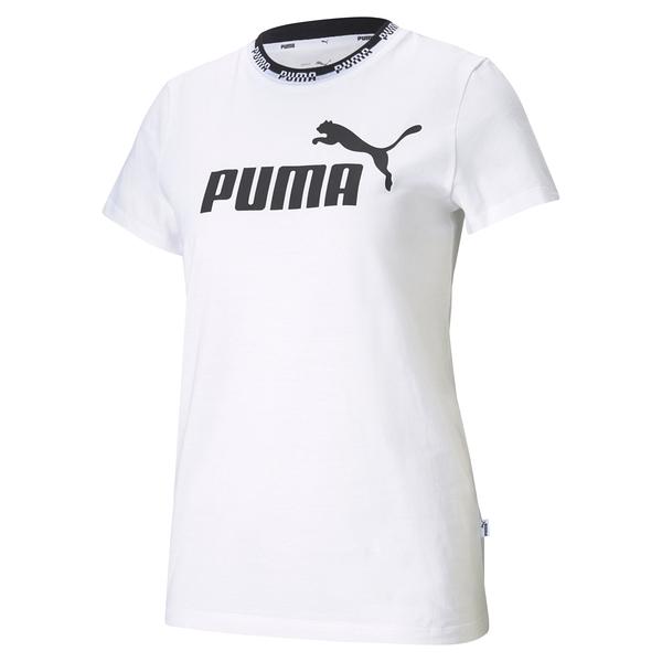 【現貨】PUMA Amplified 女裝 短袖 純棉 休閒 領口串標 印花 白 歐規【運動世界】58590202