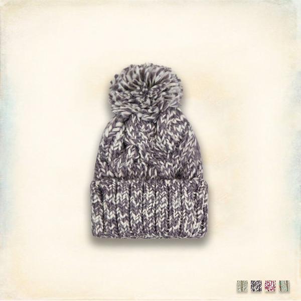 Melek 毛帽類 (共4色) 現貨 【A01160817-0201~05】女W毛帽雙色編織款 球球毛帽/暖冬毛帽