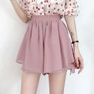 雪紡短褲 女夏季潮顯瘦高腰鬆緊寬鬆粉色寬管短褲熱褲短裙褲雪紡半身裙-Ballet朵朵
