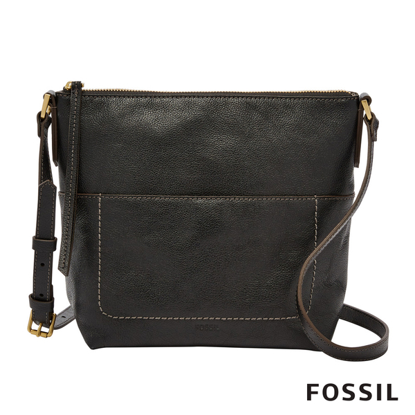 FOSSIL AMELIA 真皮瘦瘦水桶包-黑色