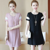 限時38折 韓國風時尚拚色氣質圓領短袖洋裝