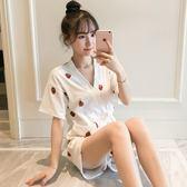 草莓和服睡衣女夏季可愛短袖純棉兩件套裝韓版薄款學生春秋家居服