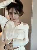 針織開衫 短款v領露肩修身針織衫上衣女2021秋季新款寬鬆外穿毛衣開衫外套 嬡孕哺